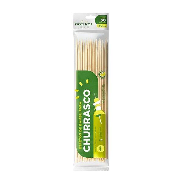 Espetinhos de Bambu 30cm com 50 Unidades Natural