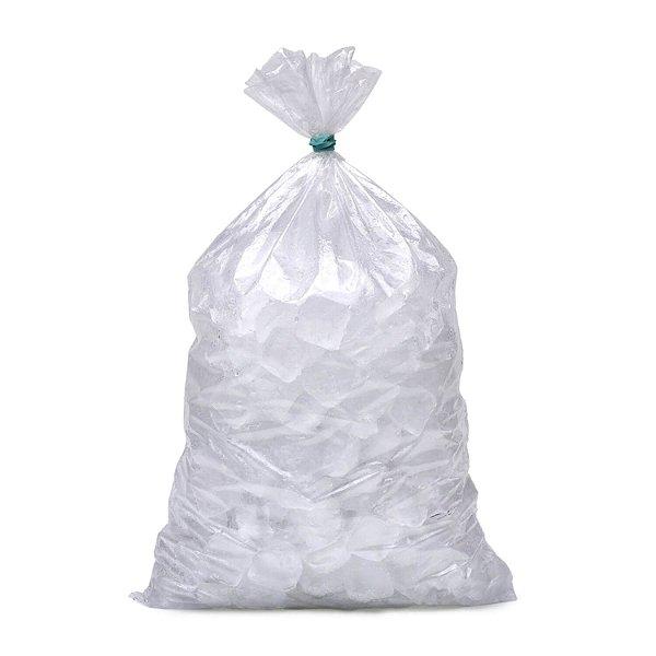 Saco Plástico Virgem PE 28x90cm 0,014mm para Gelo Capacidade de 8kg com 1kg, 25 Sacos