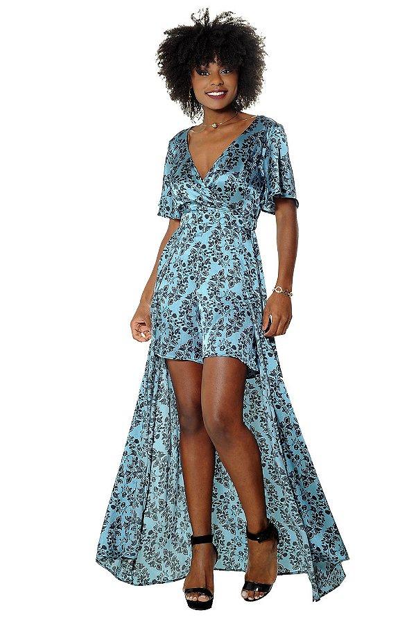 Vestido Longo Claudia Azul