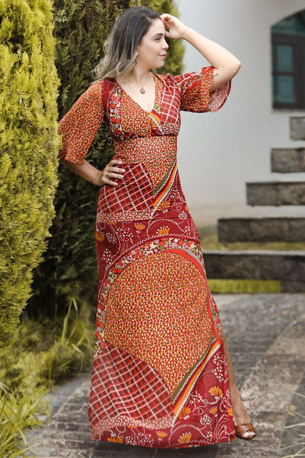 Vestido Longo Poliana Marsala