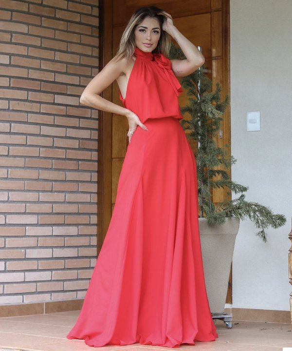 Vestido Longo Dandara Vermelho