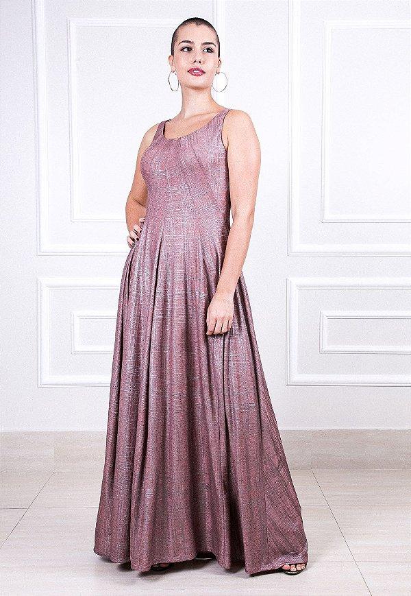 Vestido longo Recortes - Rosa