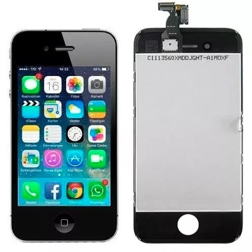 Tela Display Iphone 4s Lcd + Touchscreen Preto Novo - Colocado