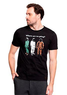 Camiseta Masculina c/ Estampa de Astronautas