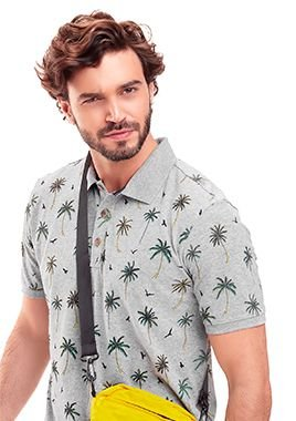 Camisa Polo Masculina c/ estampa de Coqueiros