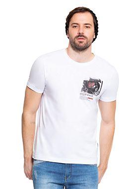 Camiseta Masculina Branca Estampa Racer
