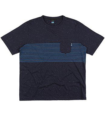 Camiseta Plus Size Masculina c/ Estampa de Listras
