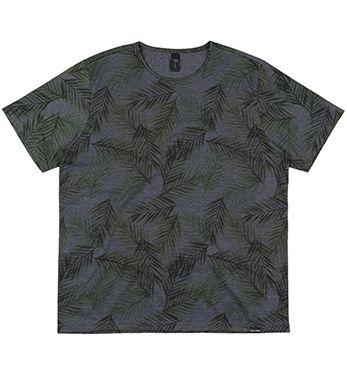 Camiseta Plus Size Masculina Full Print - Folhas