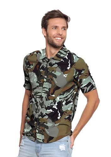 Camisa Masculina com Estampa Militar