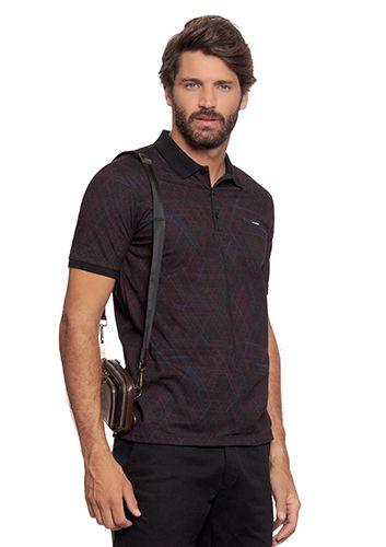 Camisa Polo Masculina c/ Estampa Geométrica