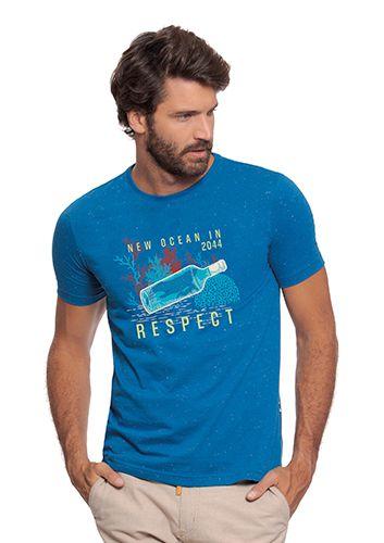 Camiseta Masculina Azul c/ Estampa de Conscientização