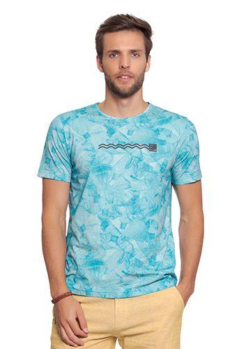 Camiseta Masculina Azul c/ Estampa Fundo do Oceano