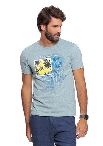 Camiseta Masculina Mescla Azul c/ Estampa