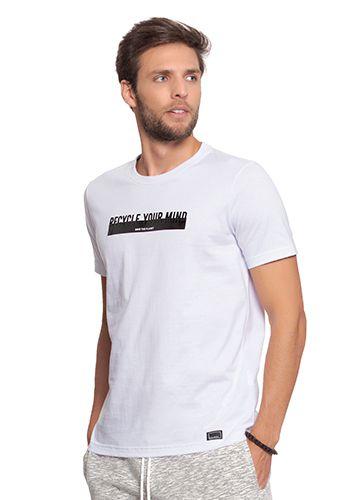 Camiseta Masculina Branca - Recycle Your Mind