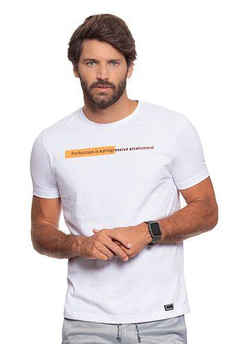 Camiseta Masculina Branca c/ Discreta Estampa