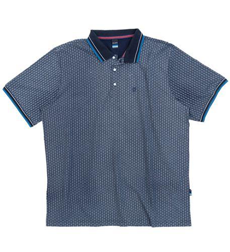 Camisa Polo Plus Size Azul Escuro Estampada