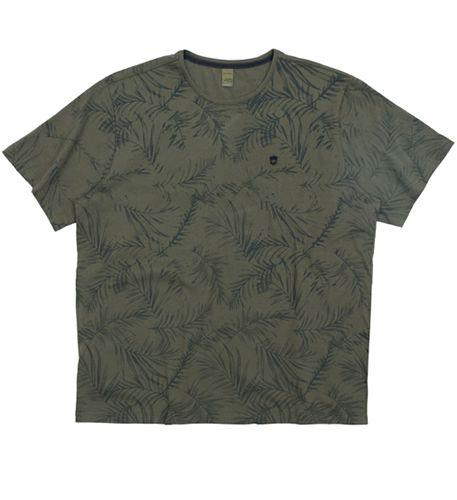 Camiseta Plus Size - Verde Militar c/ estampa Folhas