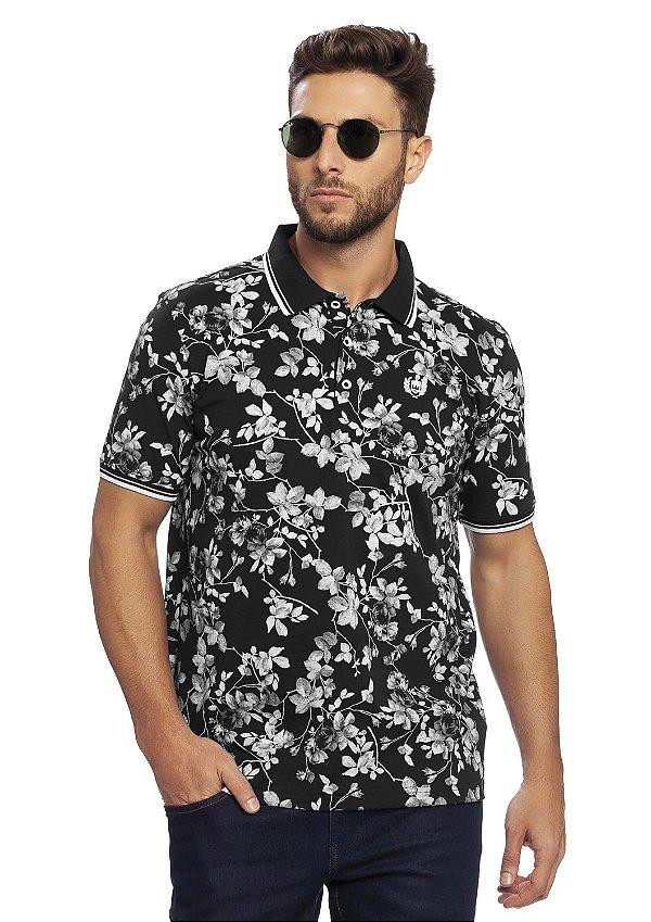 Camisa Polo Masculina Full Print em meia malha