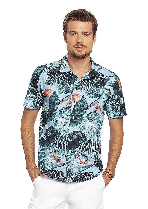 Camisa Polo Masculina com Abertura Frontal Estampa Digital