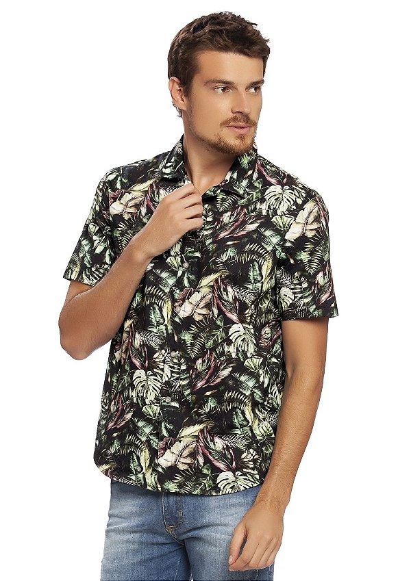 Camisa Masculina Folhagem com Abertura Frontal