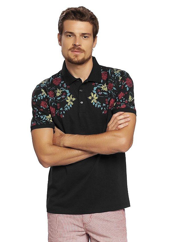 Camisa Polo Masculina Estampa Floral Localizada