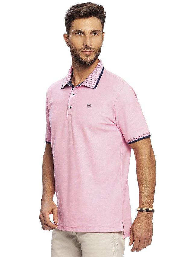 Camisa Polo Masculina em Piquet Rosa