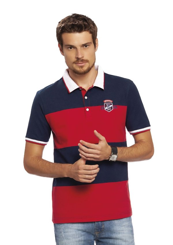 Camisa Polo Masculina com recortes e aplique