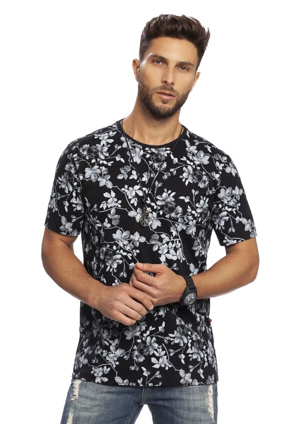 Camiseta Masculina Floral Full Print