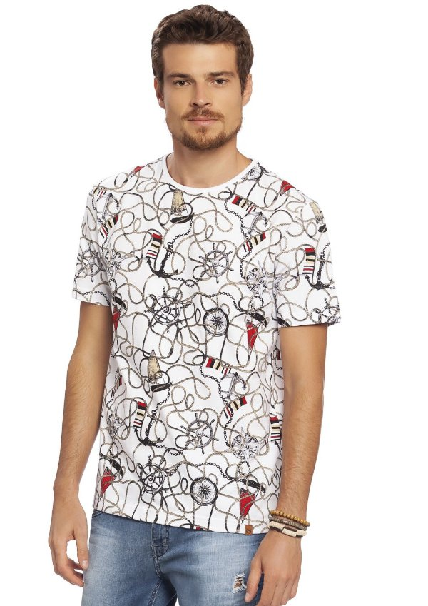 Camiseta Masculina Estampa Náutica