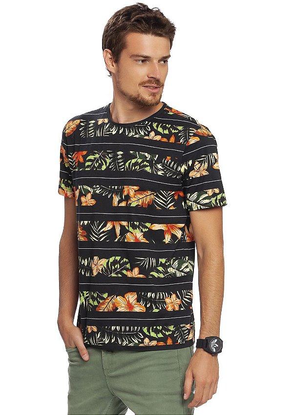 Camiseta Masculina Estampa Tropical Full Print