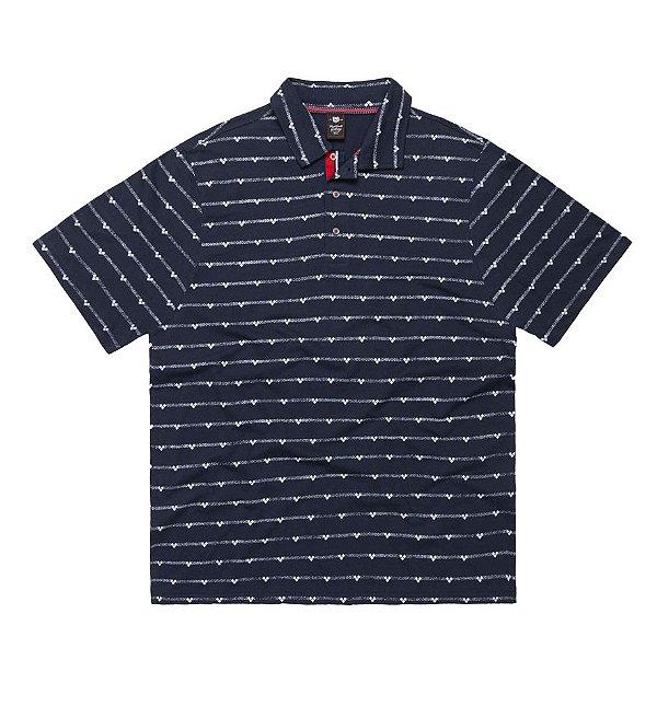 Camisa Polo Masculina Plus Size em Miniprints Marinho