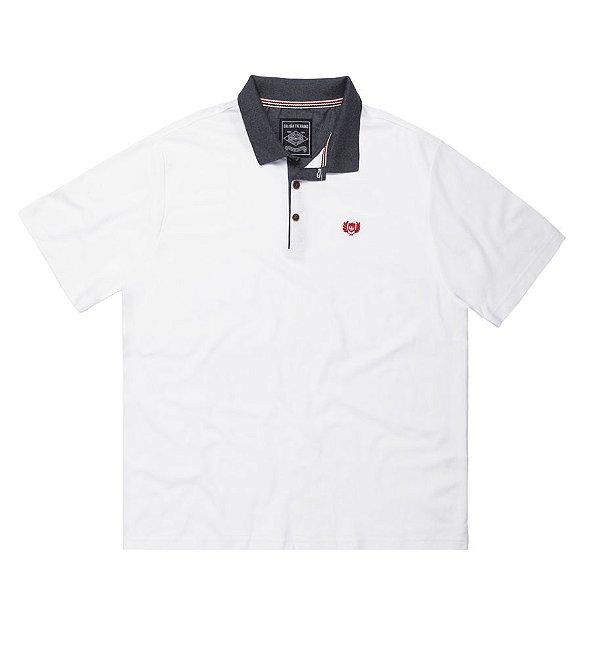 Camisa Polo Masculina Plus Size em Piquet Branco