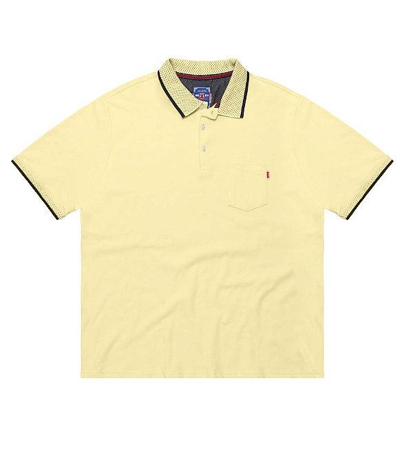 Camisa Polo Masculina Plus Size Piquet com Bolso