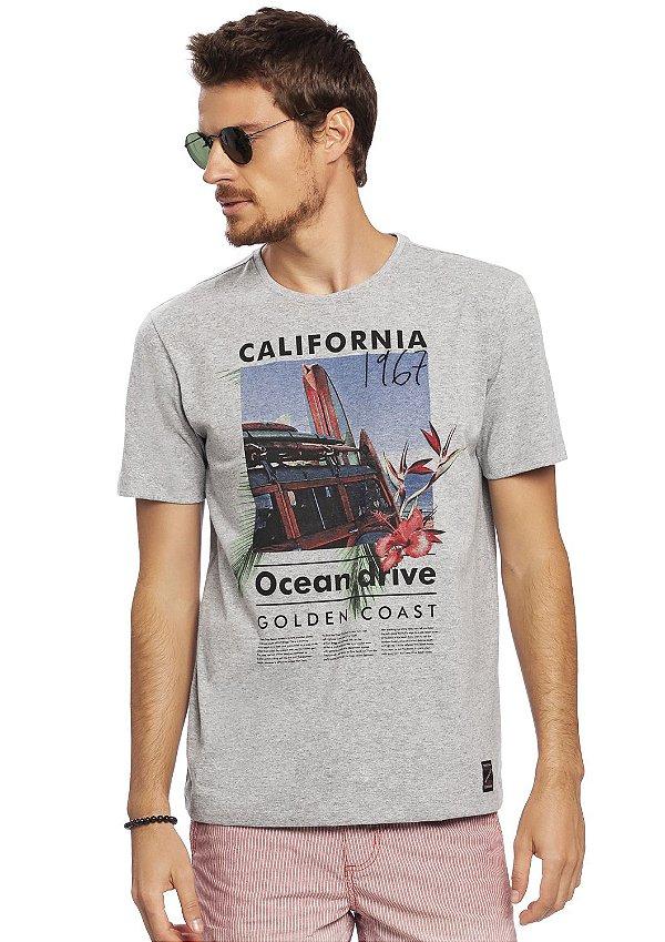 Camiseta Malha Mescla Estampa