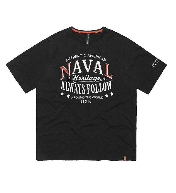 Camiseta  Plus Size Malha  Preta Naval