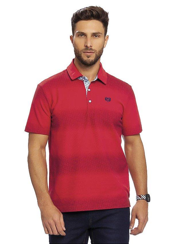 Camiseta Polo Masculina com Miniprints em estamparia de efeito sombra