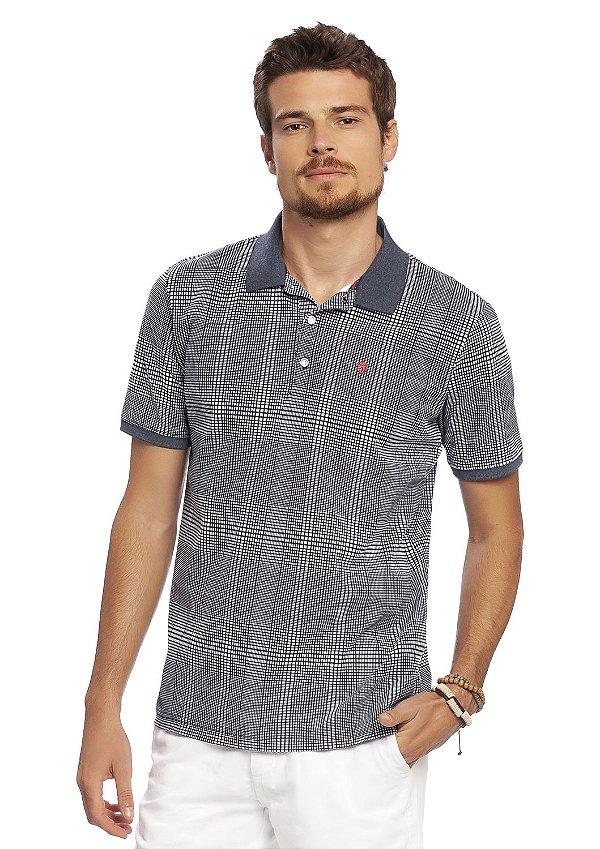 Camiseta Polo Masculina Xadrez em Azul Índigo
