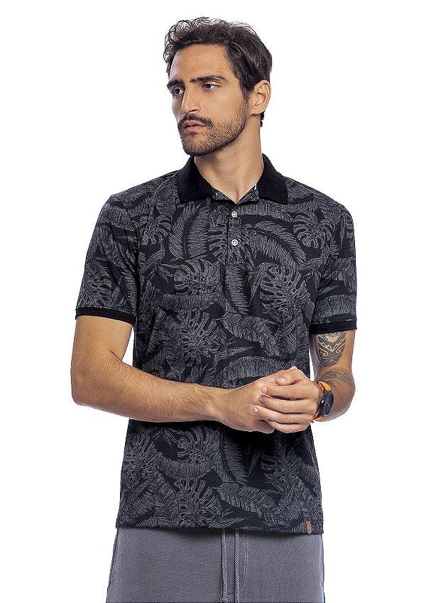Camisa Polo Masculina Full Print Folhagens Verão