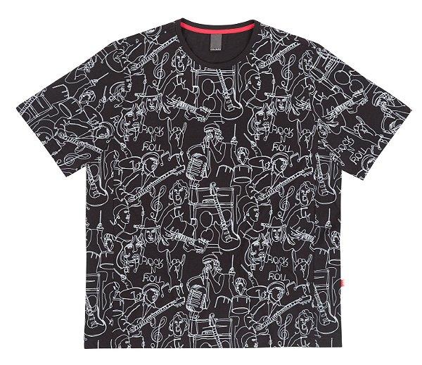 Camiseta Plus Size Full Print Rock & Roll