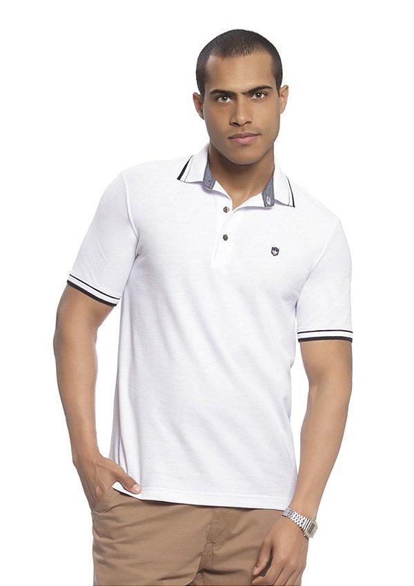 Camisa Polo Masculina em Piquet Branca