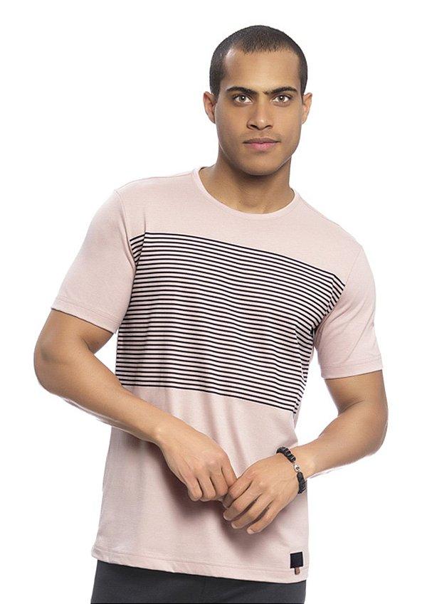 Camiseta Masculina Listrada Rosê