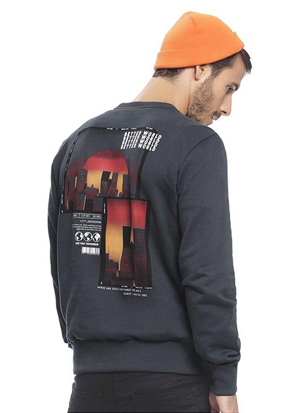 Blusão Masculino em Moletom com Estampa nas costas