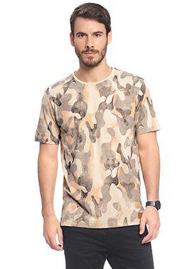 Camiseta Masculina Full Print com Camuflado Diferenciado