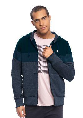 Blusão Masculino em Moletom com Recortes e Zíper na cor Azul Marinho