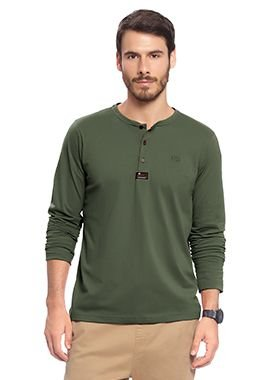Camiseta Masculina Manga longa na cor Verde Militar