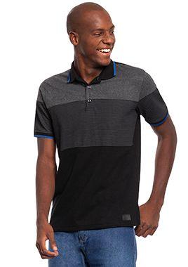 Camisa Polo Masculina com Recortes e Listras