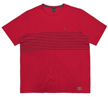 Camiseta Plus Size Masculina Estampada com Listras