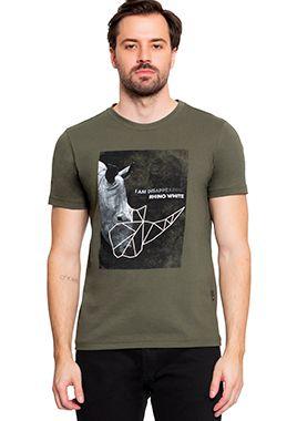 Camiseta Masculina com Estampa Rinoceronte