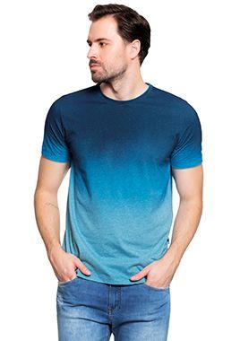 Camiseta Masculina c/ Estampa Degradê - Azul