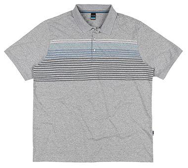 Camisa Polo Plus Size com Listras - Mescla